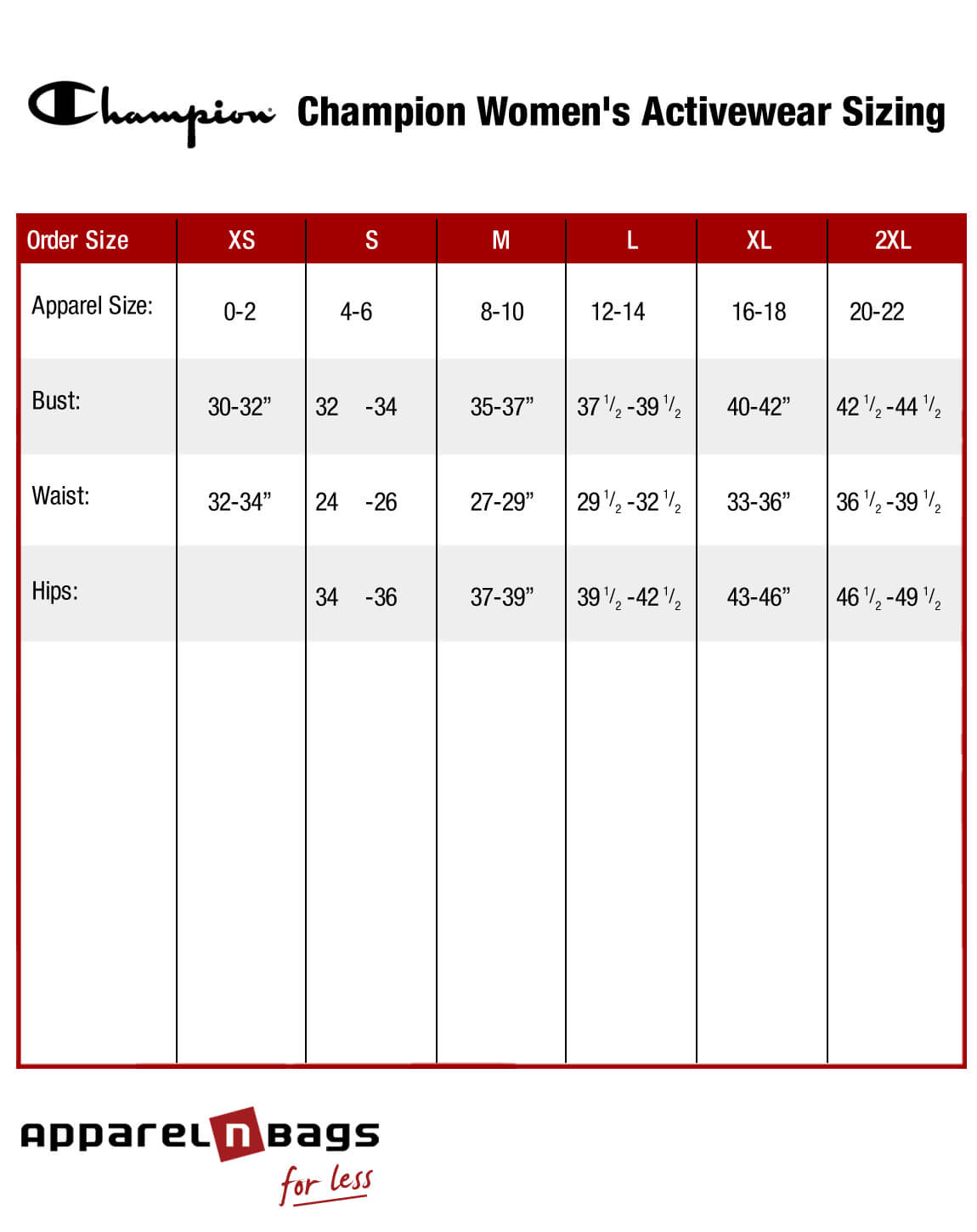 Champion Size Chart – Basketball Jersey, Sports Bra, Shorts