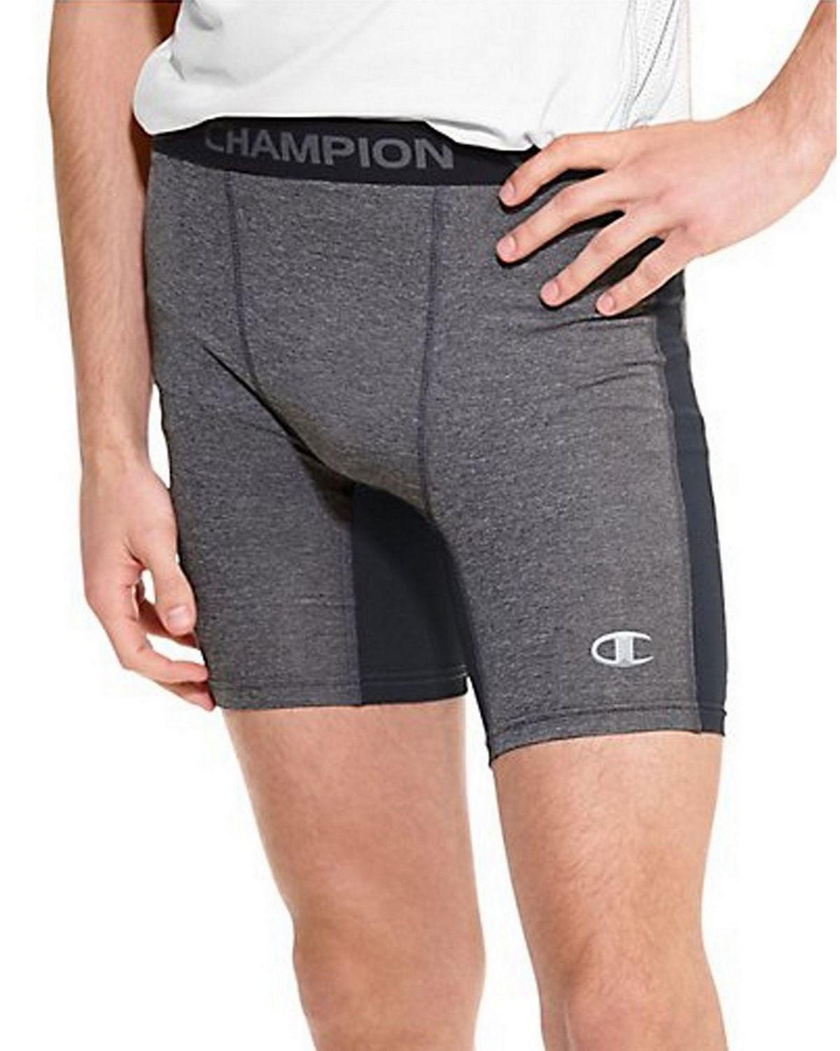 Champion 87294 PowerTrain PowerFlex Solid Compression Shorts - Slate Grey Heather/Black - L 87294