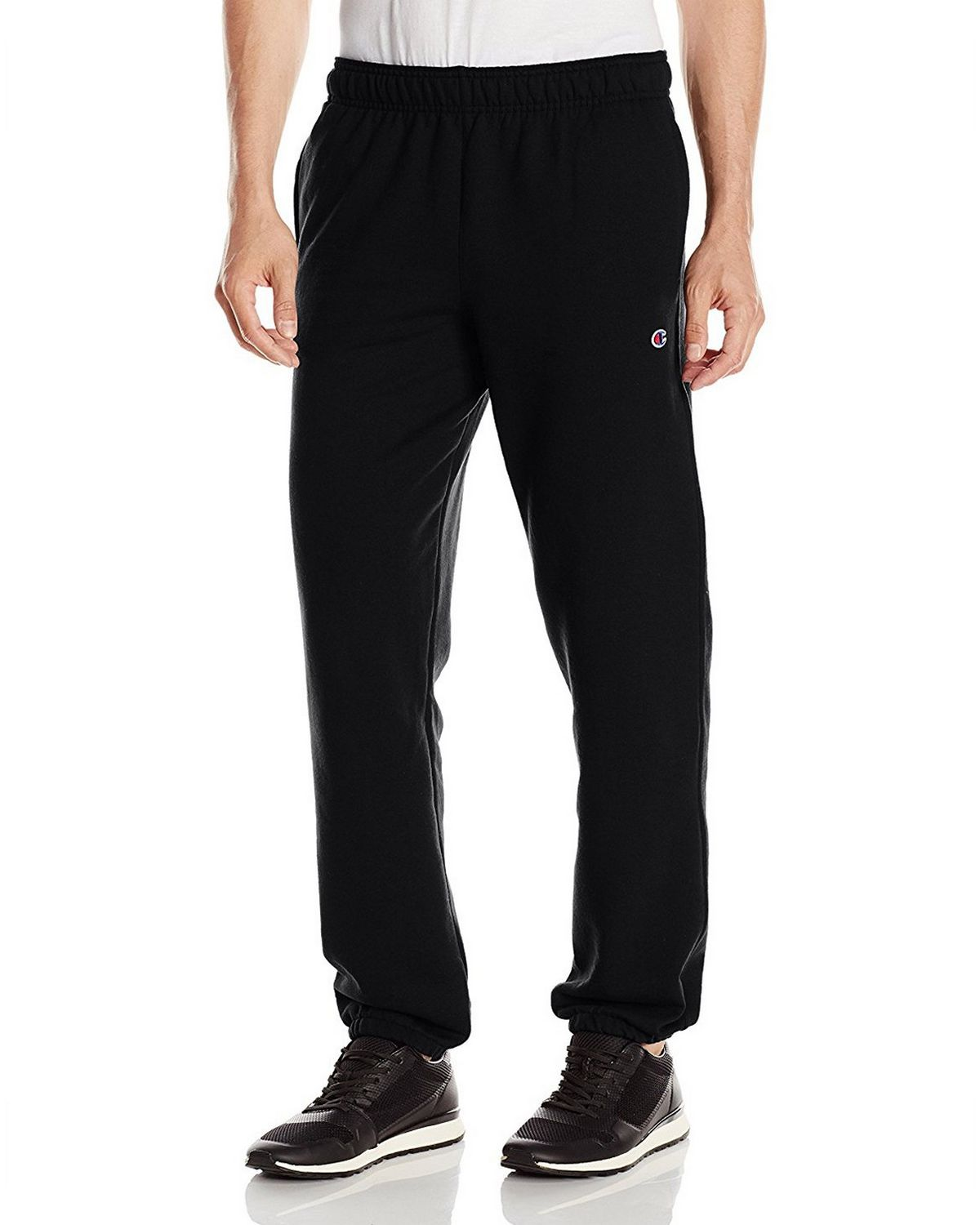 Champion Men's Powerblend Relaxed Bottom Fleece Pant, Black, S P0894