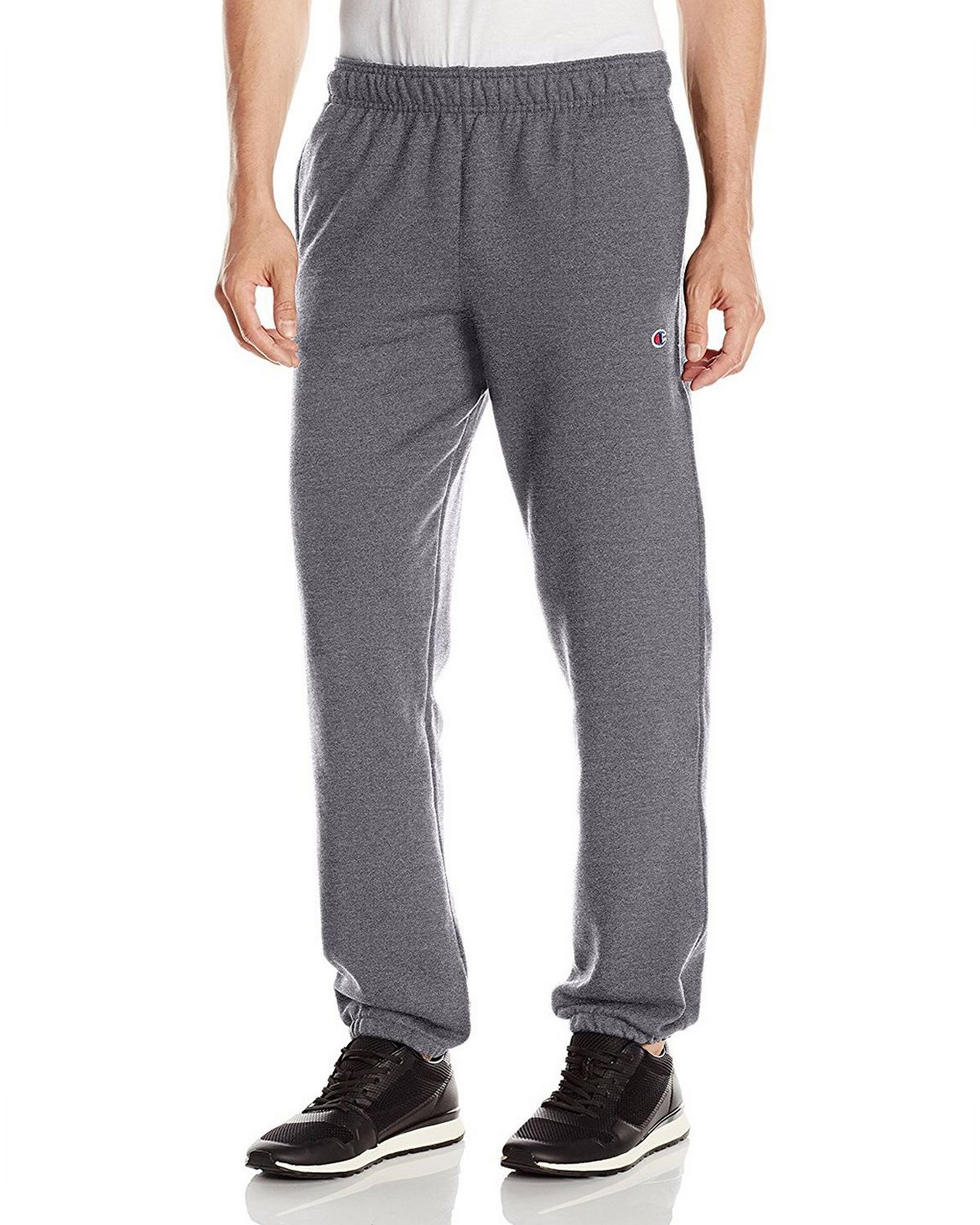 Champion Men's Powerblend Relaxed Bottom Fleece Pant, Granite Heather, M P0894