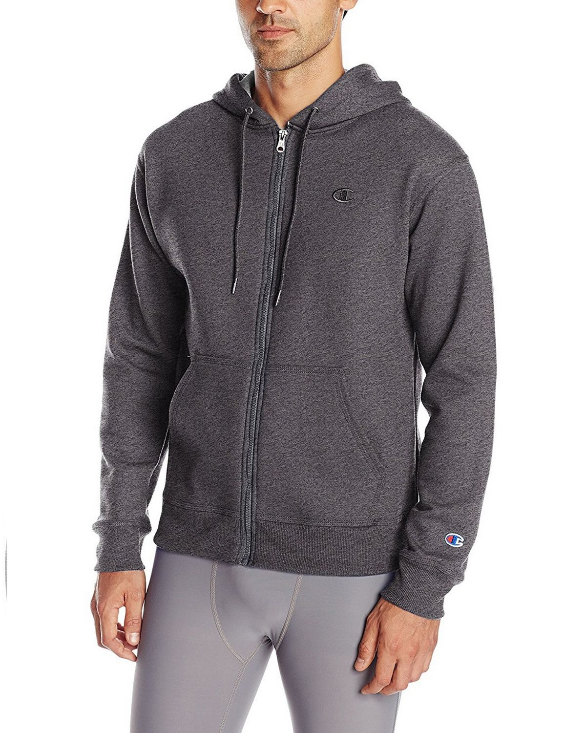 Champion S0891 Mens Fleece Full Zip Jacket - Granite Heather - S S0891