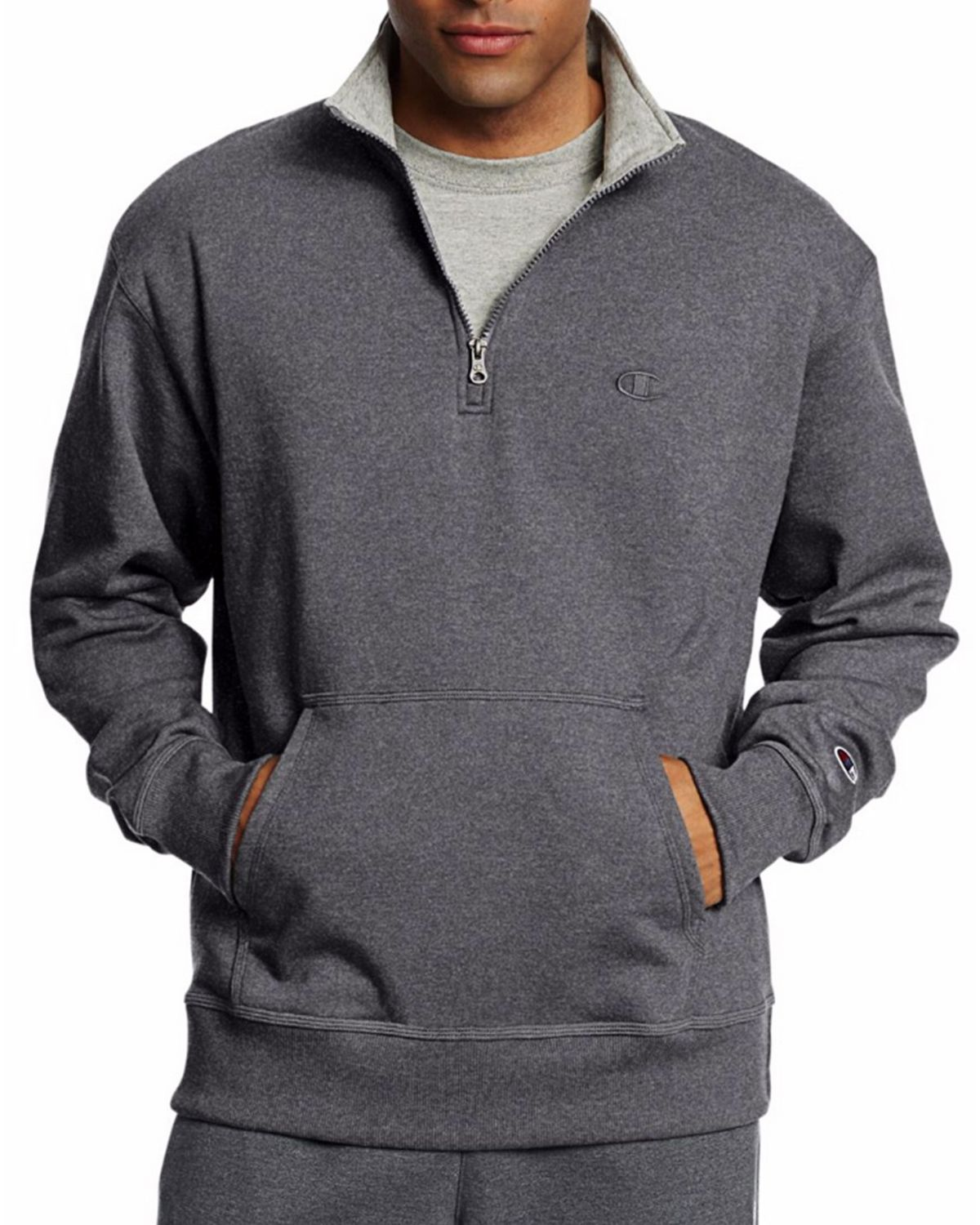 Champion S0896 Mens Fleece 1/4 Zip Pullover - Granite Heather - XL S0896