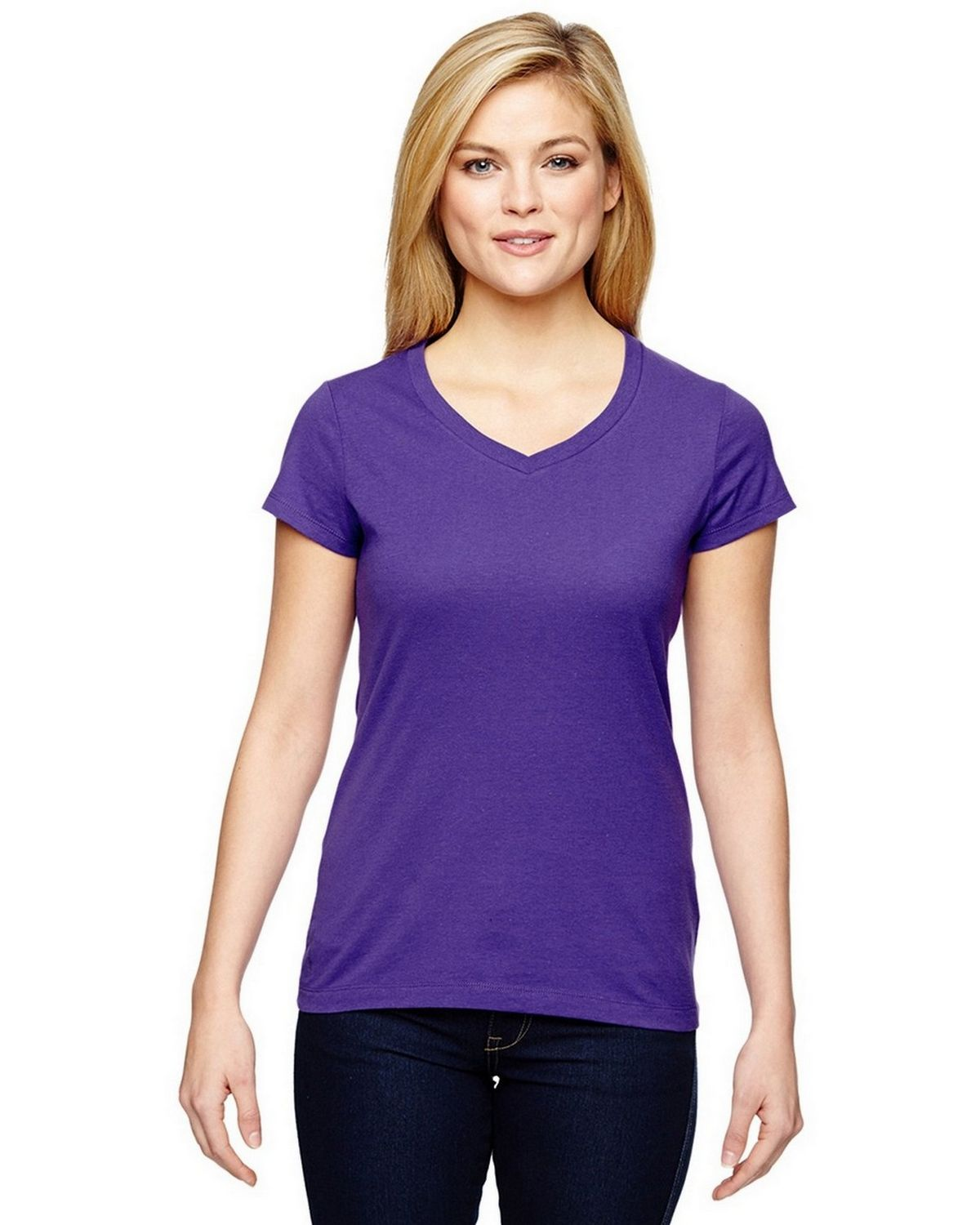 Champion Womens Vapor Cotton Short-Sleeve V-Neck T-Shirt T050 -Sport Purple L T050