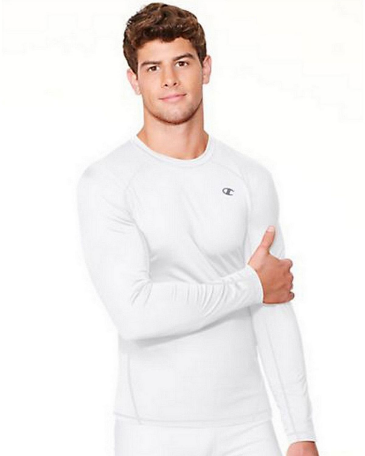 Champion T625 Long Sleeve Compression Tee - White - XL T625