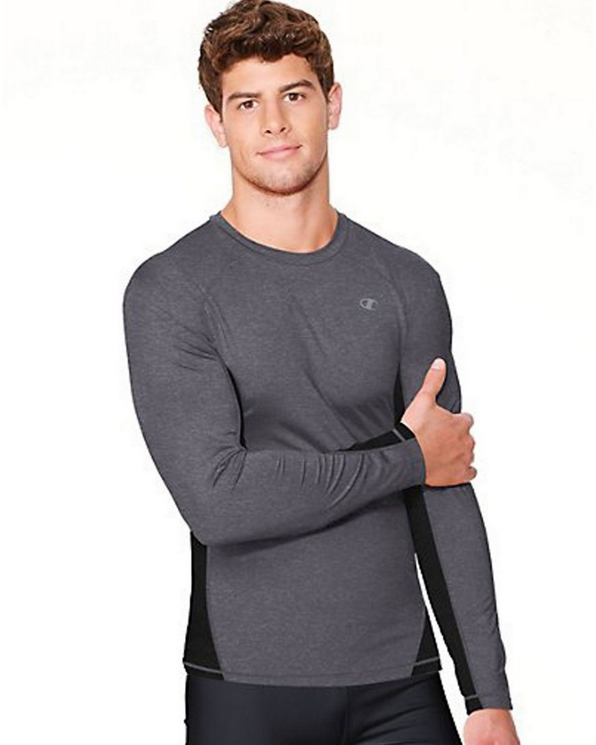 Hanes T6607 Champion Vapor Power Train Long Sleeve Colorblock Mens Tee, Oxford Grey & Granite Heather Size Medium 00078715063351