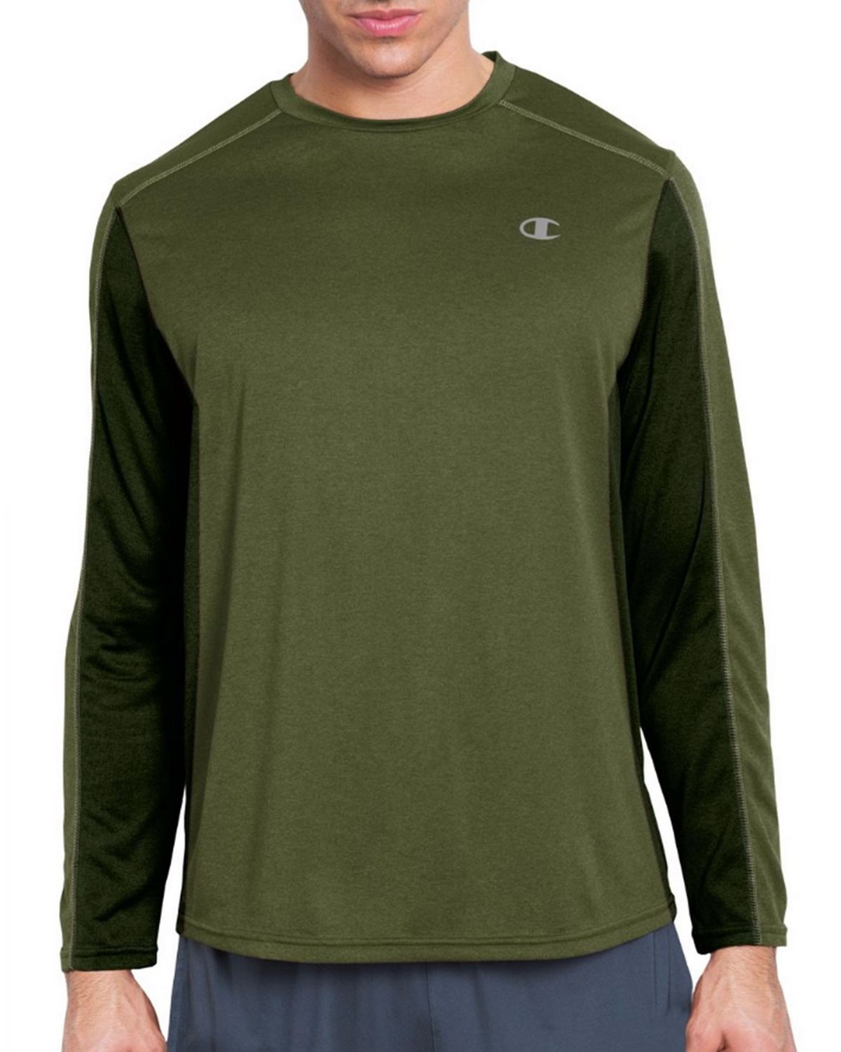 Champion T6607 Vapor PowerTrain Long Sleeve Colorblock Mens Tee - Service Green/Bottle Green - S T6607