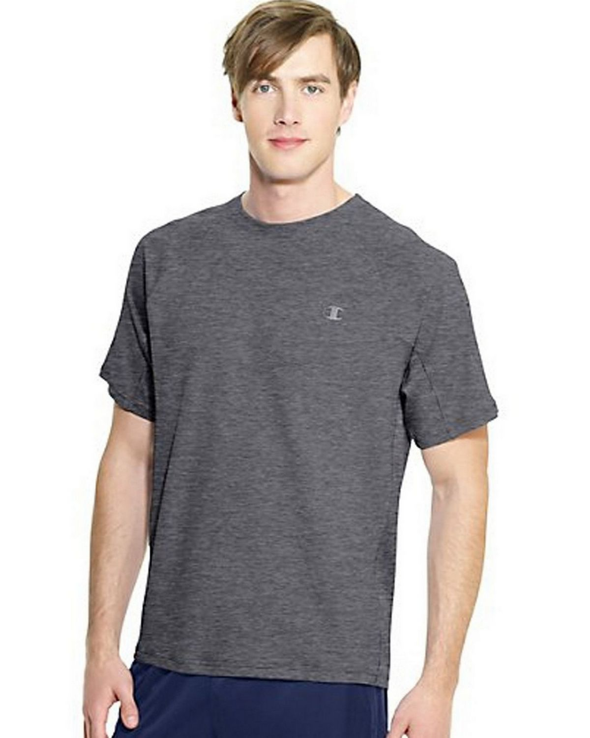 Hanes T6608 Champion Vapor Power Train Short Sleeve Colorblock Mens Tee, Oxford Grey & Granite Heather Size Large 00078715064563