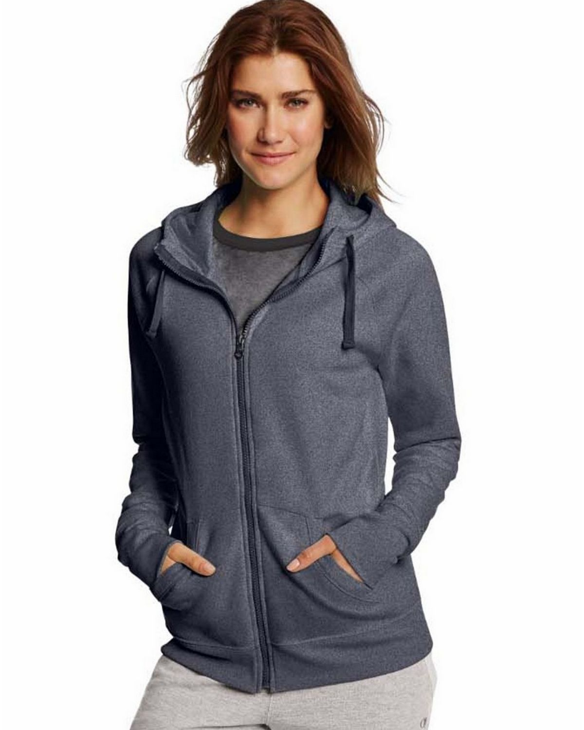 Champion W0933 Womens Fleece Full Zip Hoodie - Granite Heather - S W0933