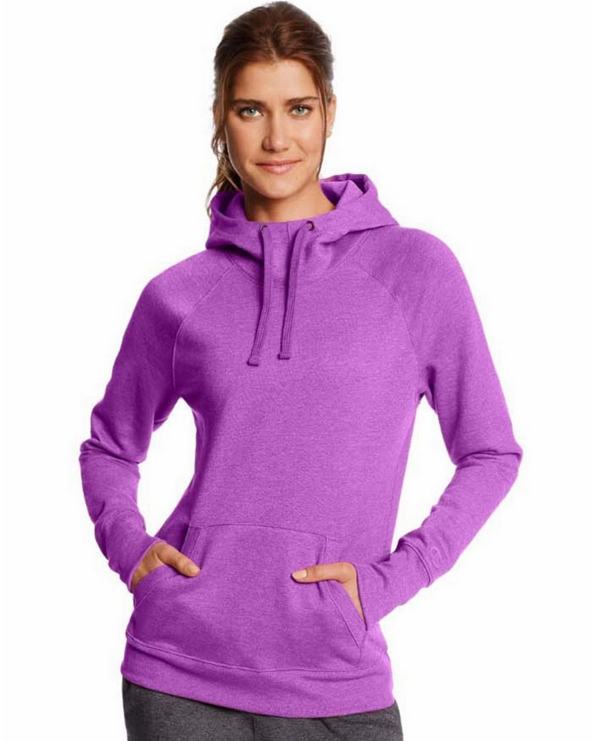 Champion Women's Fleece Pullover Hoodie, Space Purple Heather, Medium W0934