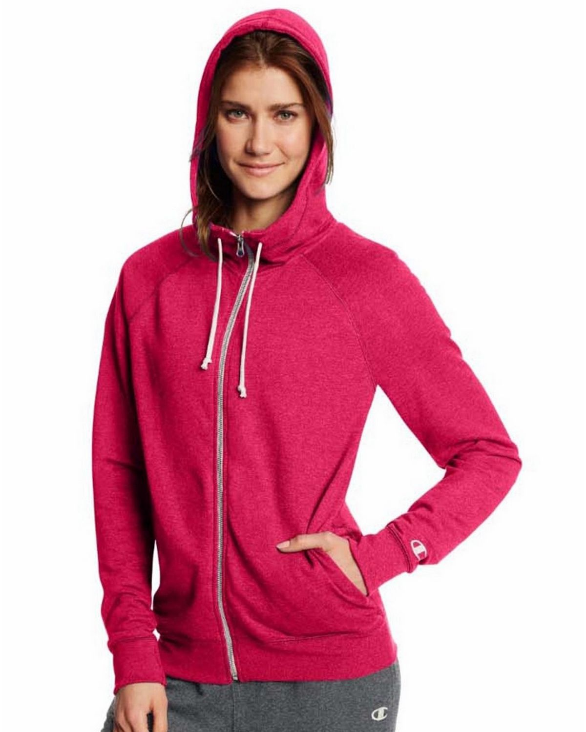 Champion Women's French Terry Full-Zip Jacket, Granite Heather, M W0941