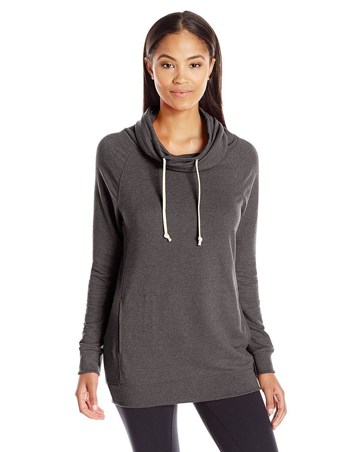 Champion Women's French Terry Funnel Neck Top, Granite Heather, M W0942