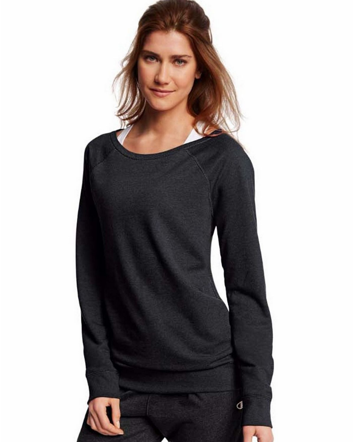 Champion Women's French Terry Pullover Sweatshirt, Black, S W0943