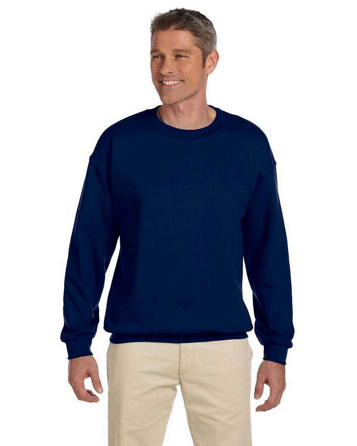 Gildan Mens 8 Oz Heavy Blend 50/50 Fleece Crew G180 -Navy L G180