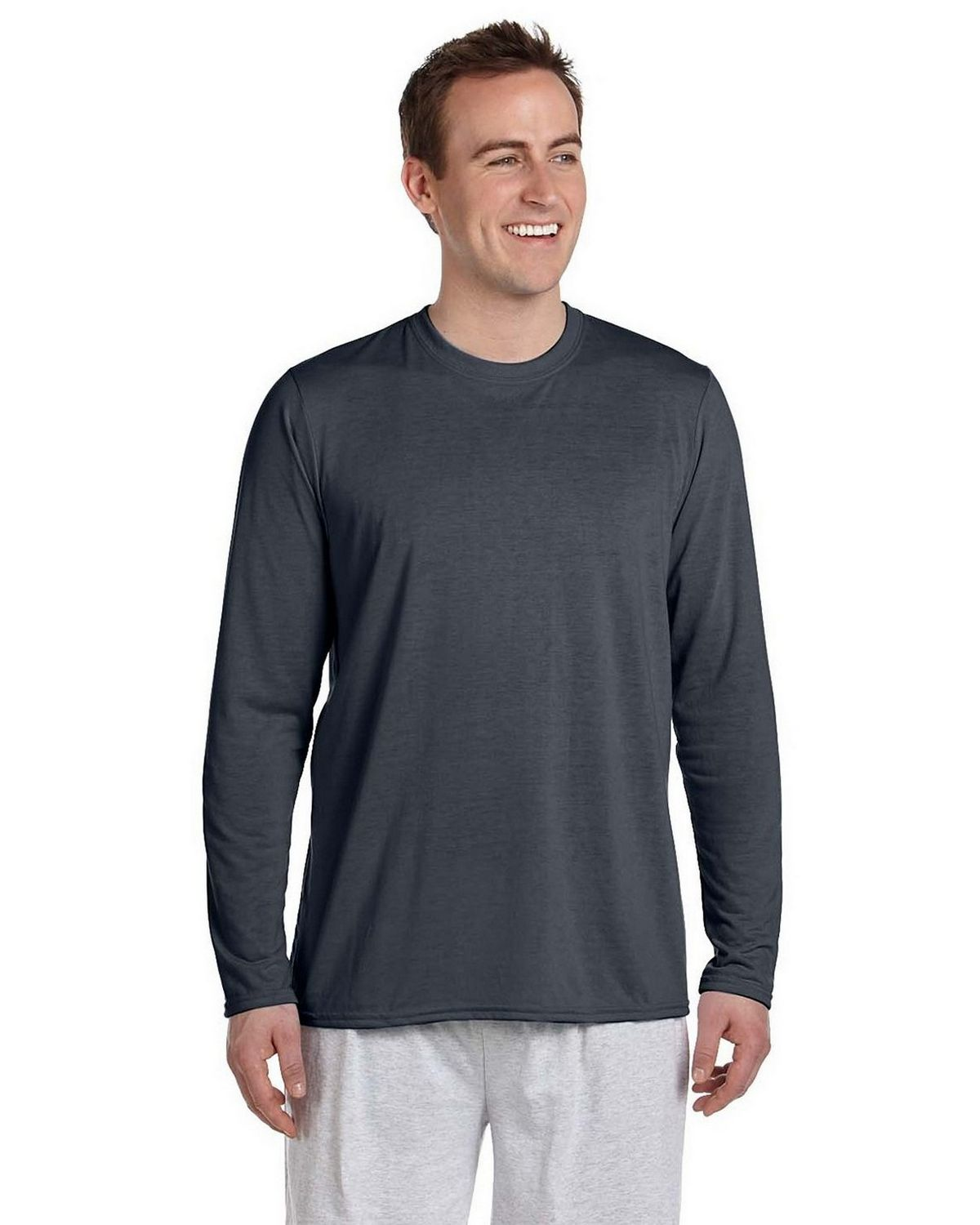 Gildan Mens Performance Long-Sleeve T-Shirt G424 -Sport Grey -M G424