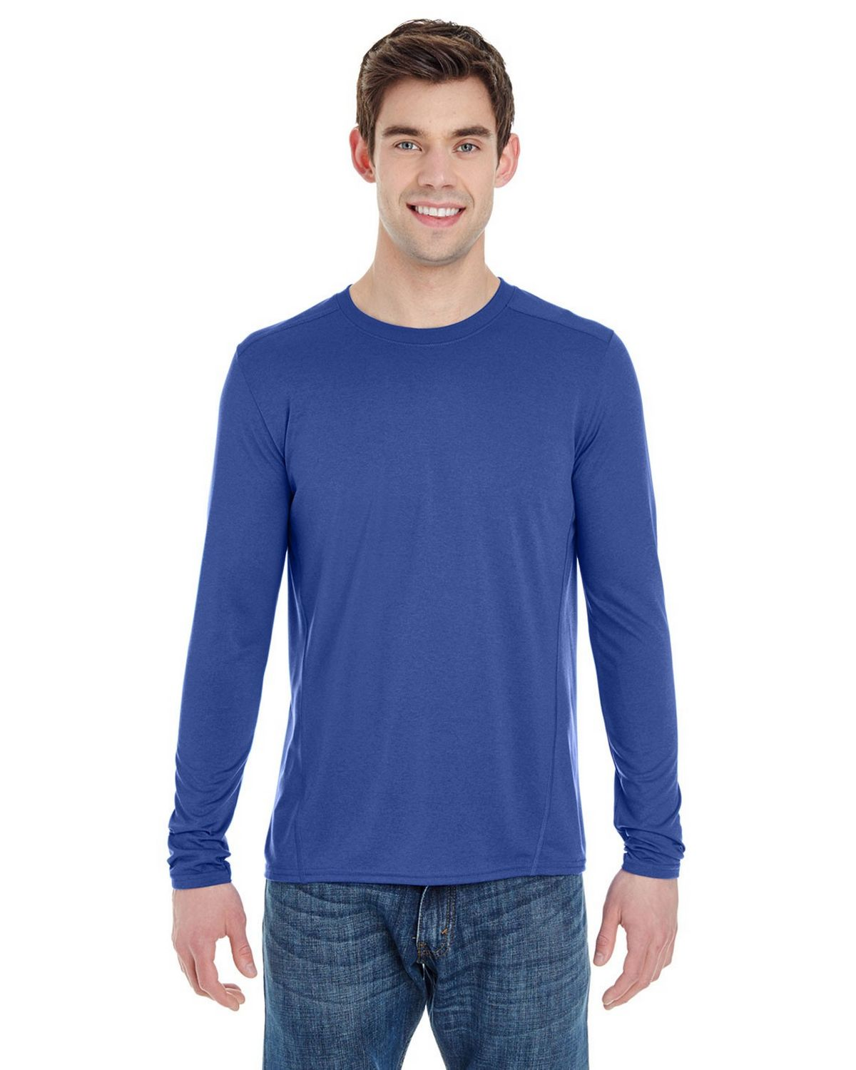 Gildan G47400 Adult Long Sleeve Tee - Marbled Royal - 3X G47400