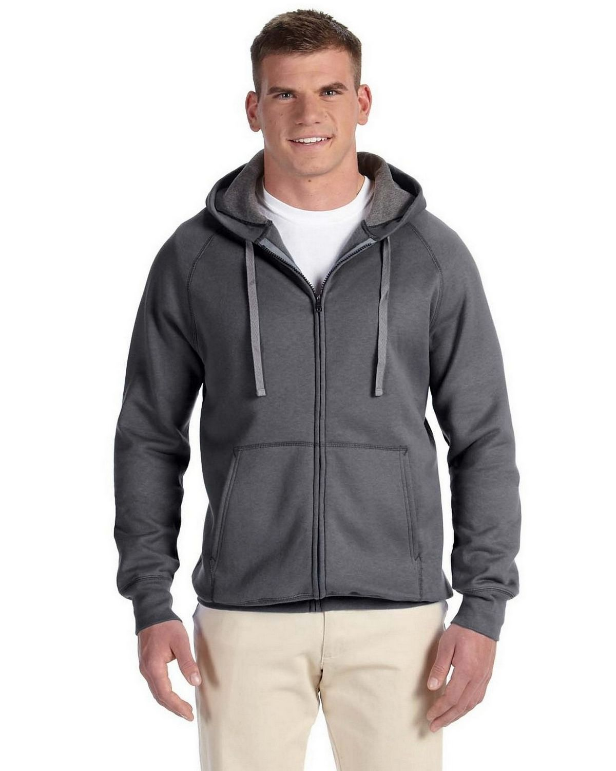 Hanes N280 Nano Full Zip Hoodie Sweatshirt - Charcoal Heather - XL N280