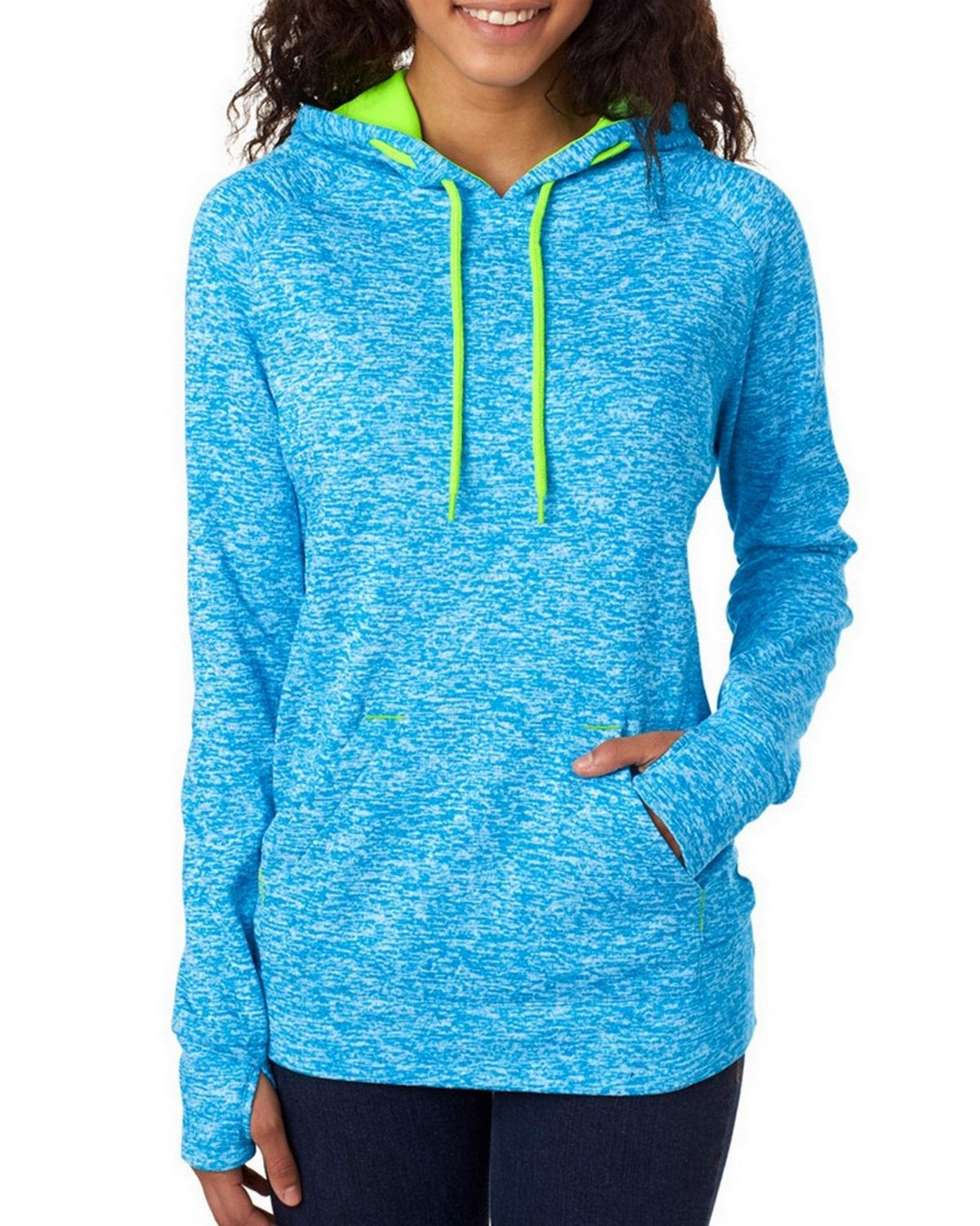 J America J8616 Ladies Pullover Hooded Fleece - Ice Grey/Neon Green - M J8616