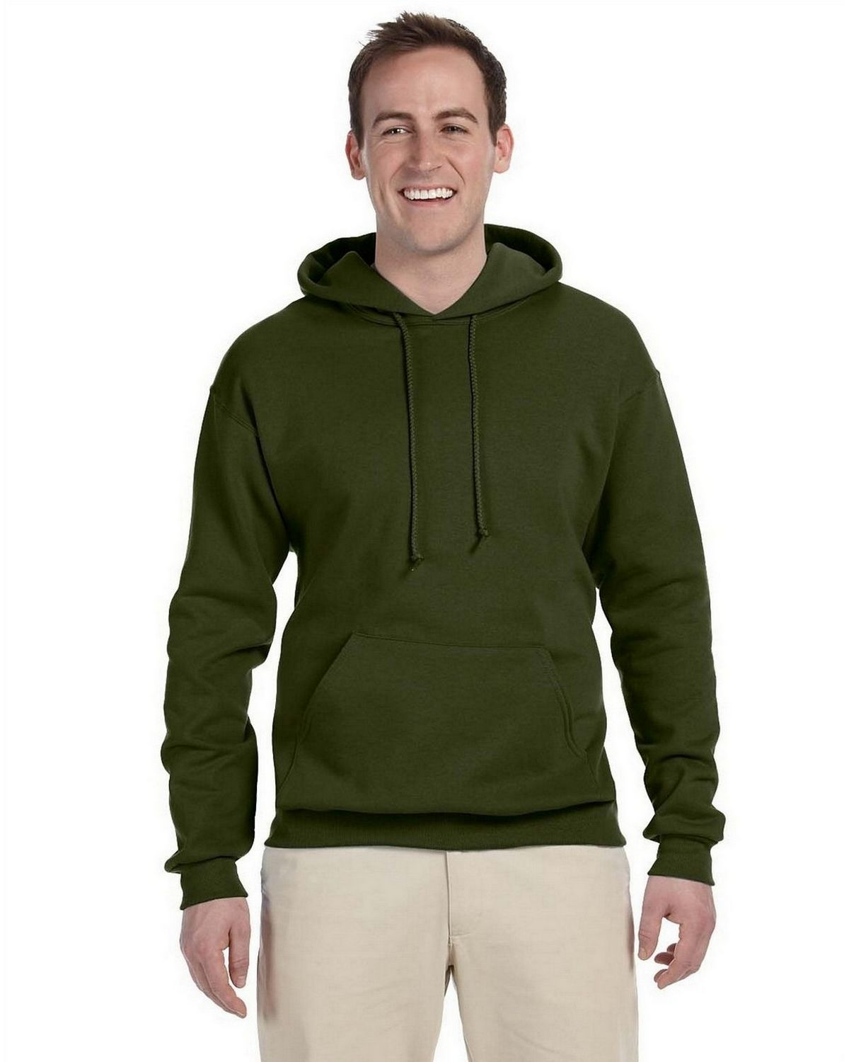 Jerzees 996 50/50 Pullover Hood - Military Green - L 996