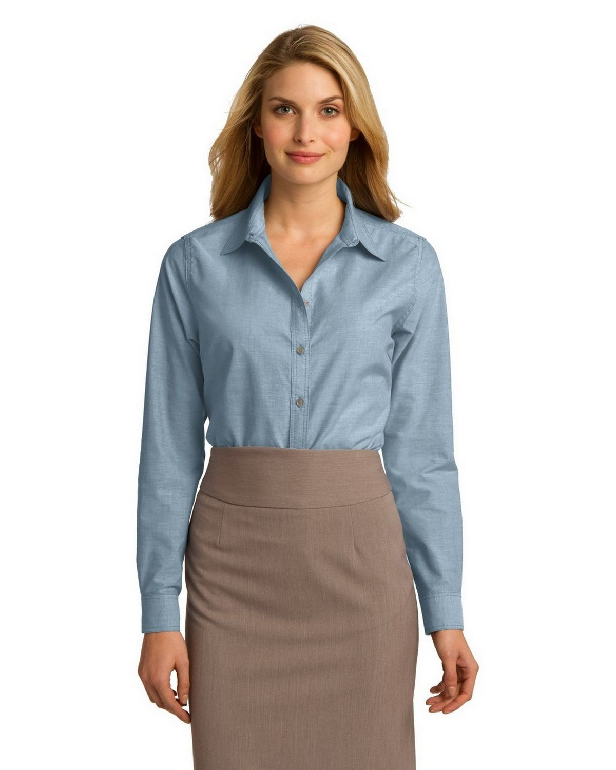 Port authority l653 ladies chambray shirt for Chambray shirt women