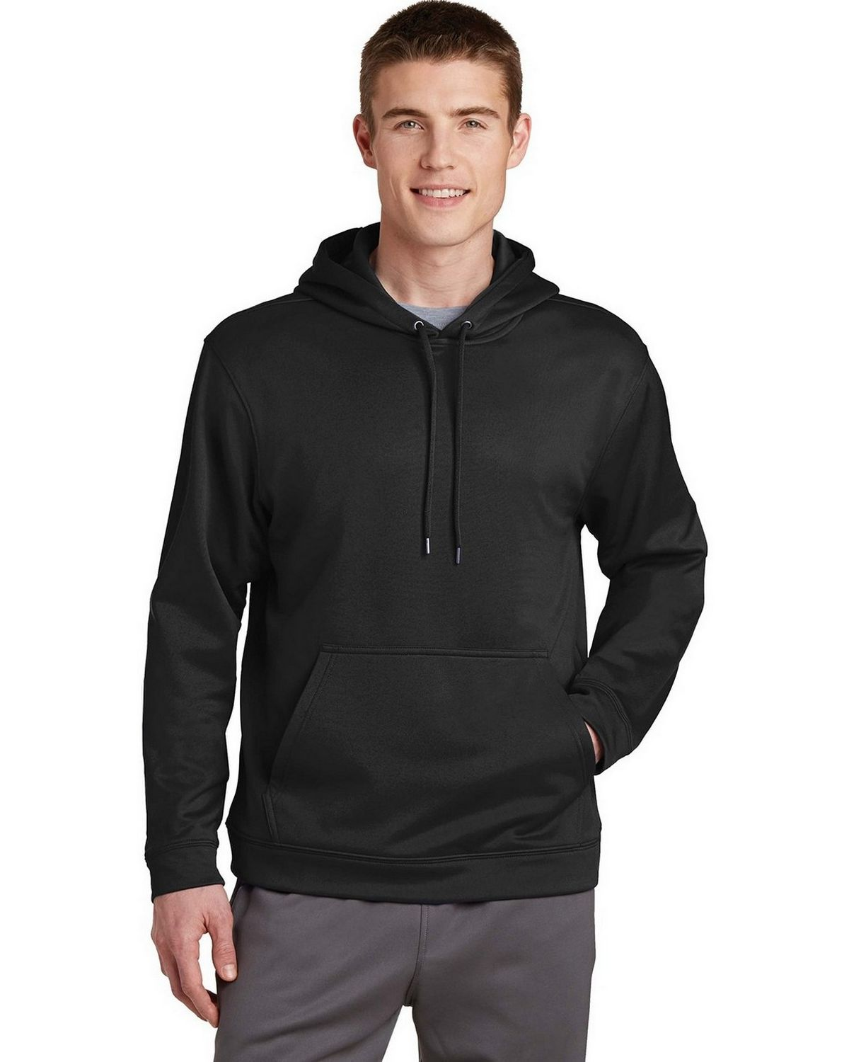 Sport-Tek F244 Sport-Wick Fleece Hooded Pullover - Black - S F244