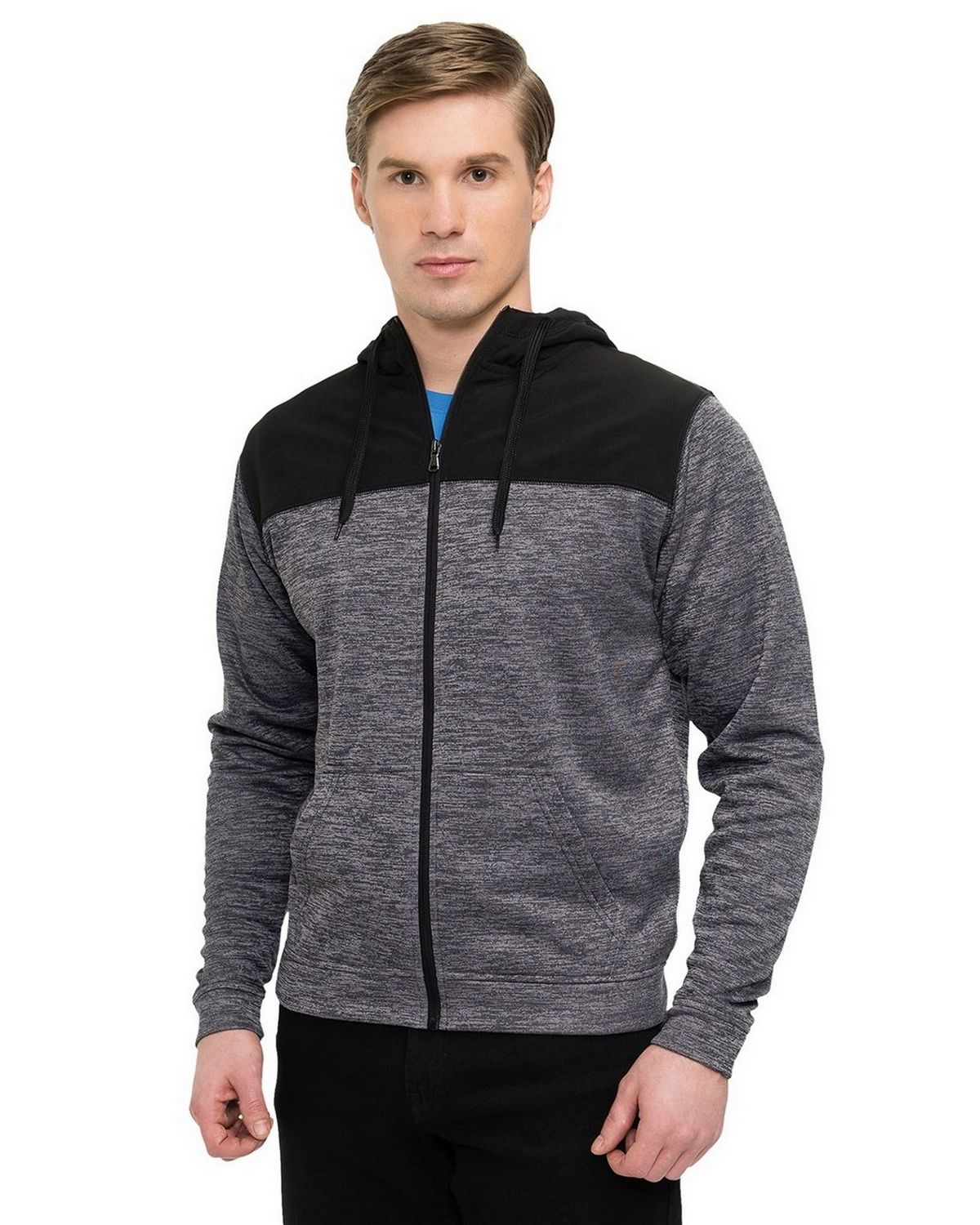 Tri-Mountain Performance F7455 Mens Full Zip Jacket - Charcoal/Black - XL F7455