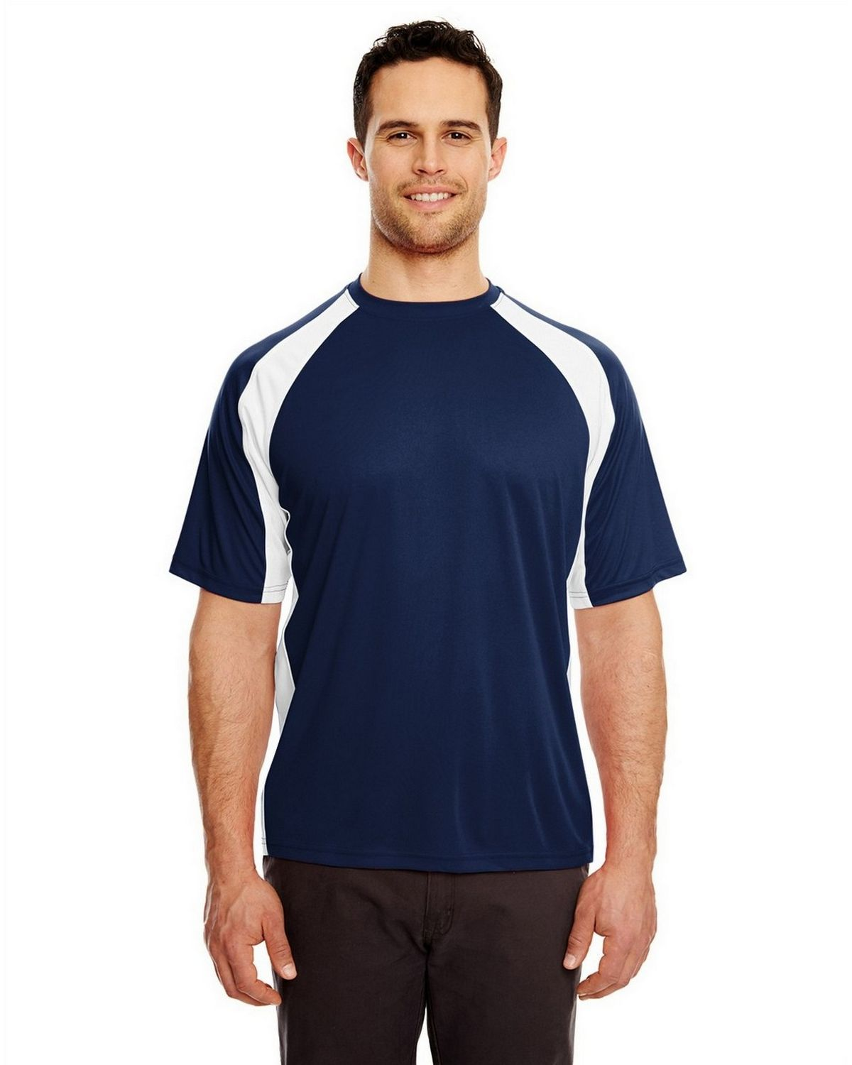 Ultraclub 8421 Sport Two Tone Performance Tee - Navy/ White - L 8421