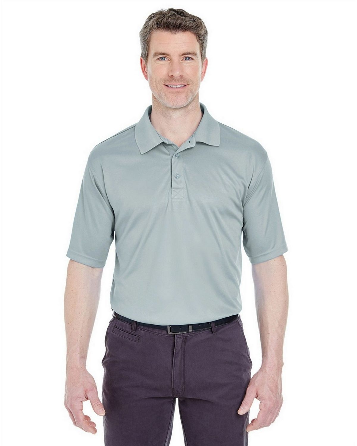 Ultraclub 8425 Performance Interlock Polo - Grey - XL 8425