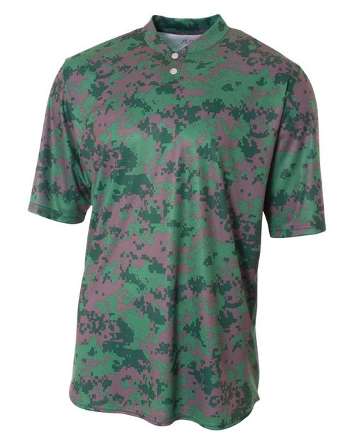 A4 N3263 Adult Camo Two Button Henley