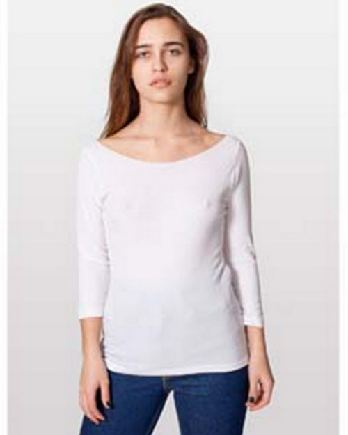 American Apparel 6344 Drop Ship Ladies' Boat Neck 3/4 Sleeve Sheer Jersey