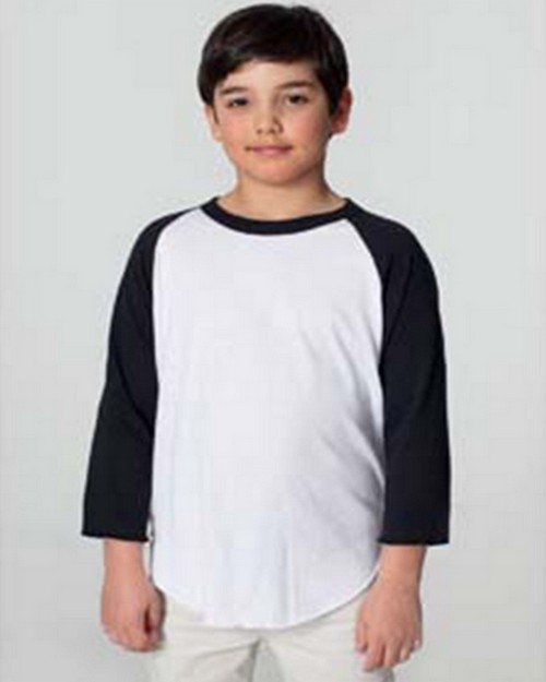 American Apparel BB253 Drop Ship Youth Poly-Cotton 3/4 Sleeve Raglan