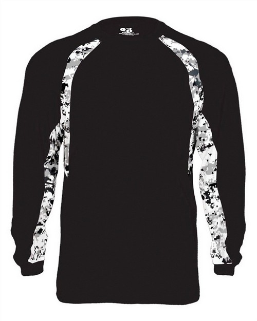 Badger 4155 Adult Digital Hook Long Sleeve Performance Tee