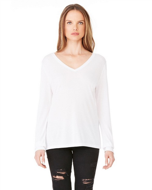 Bella + Canvas 8855 Ladies Long-Sleeve Flowy V-Neck