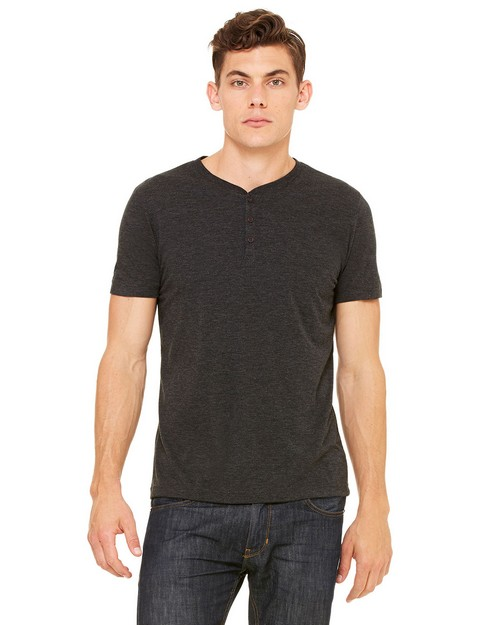 Bella + Canvas 3125 Mens Triblend Short-Sleeve Henley