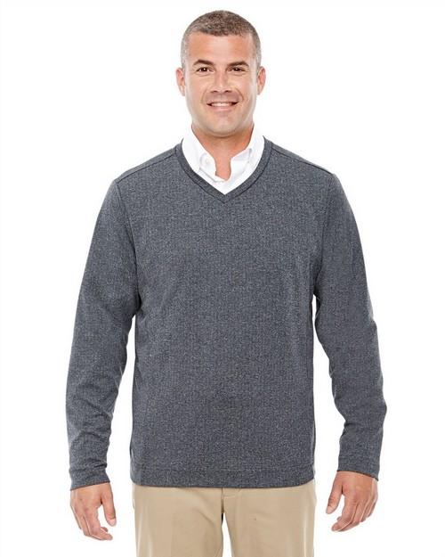 Devon & Jones D884 Mens Fairfield Herringbone V-Neck Pullover