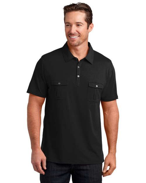 District Made DM333 Mens Jersey Double Pocket Polo