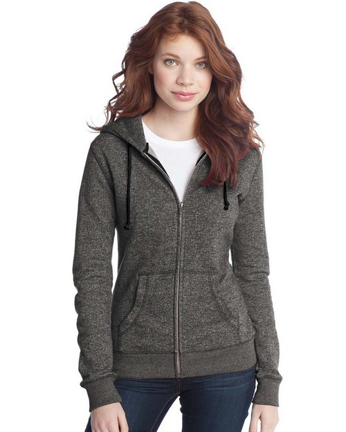 District DT292 Juniors Marled Fleece Full Zip Hoodie