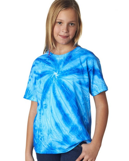 Gildan Tie-Dyes 68B Youth Neon One-Color Pinwheel Tee