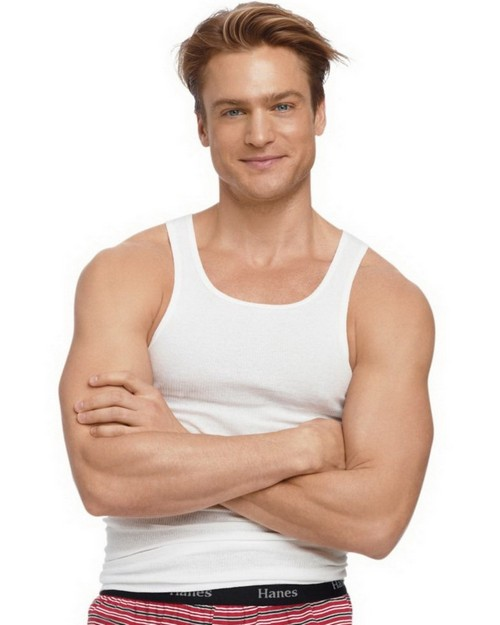 Hanes 372AP6 Mens TAGLESS ComfortSoft White A-Shirt 6-Pack