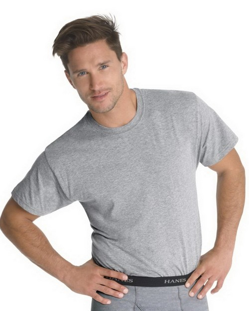 Hanes 7873BG Classics Mens Traditional Fit ComfortSoft Black/Grey Crewneck Undershirt 3-Pack
