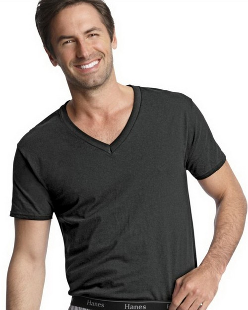 Hanes 7883B3 Classics Mens Traditional Fit ComfortSoft Dyed Black V Neck Undershirt 3 Pack