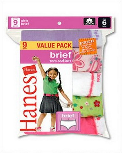 Hanes P913BR Girls Brief Assortment (Pack of 9)