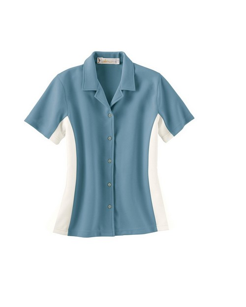 Il Migliore 77016 Ladies Knit Ottoman Color Block Camp Shirt