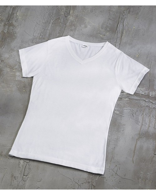 LAT 1507 Ladies Polyester V-Neck T-Shirt