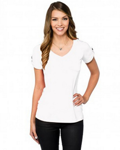 Lilac Bloom LB002 Chloe Womens V-Neck Pocket Tee