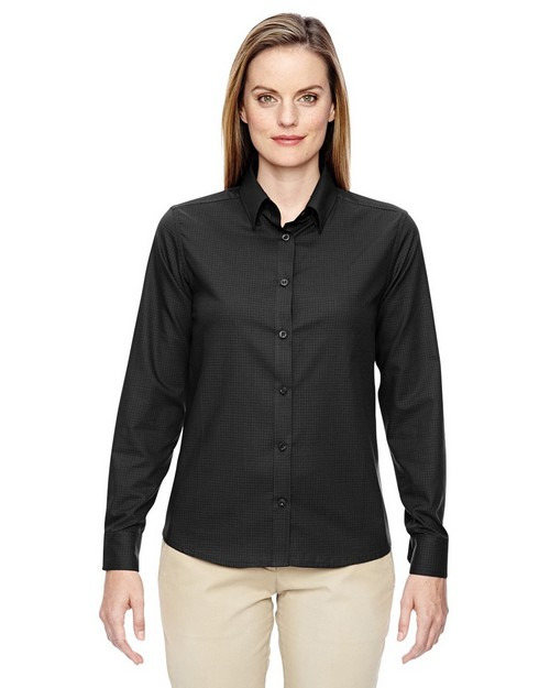 North End 77043 Paramount Ladies Wrinkle Resistant Cotton Blend Twill Checkered Shirts
