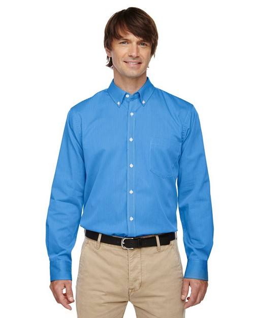 North End 87041 Establish Mens Wrinkle Resistant Cotton Blend Dobby Striped Shirts