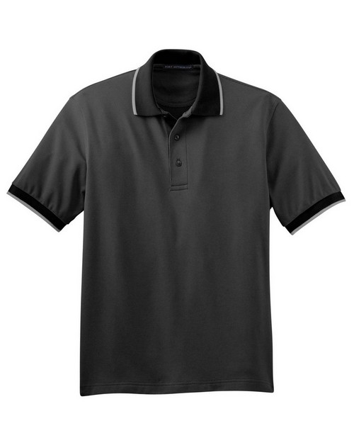 Port Authority K416 Twill Interlock Polo with Stripe Trim