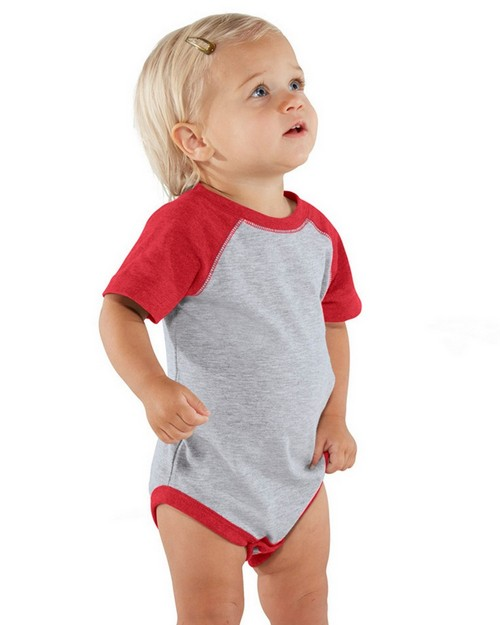 Rabbit Skins 4430 Infant Vintage Fine Jersey Baseball Bodysuit