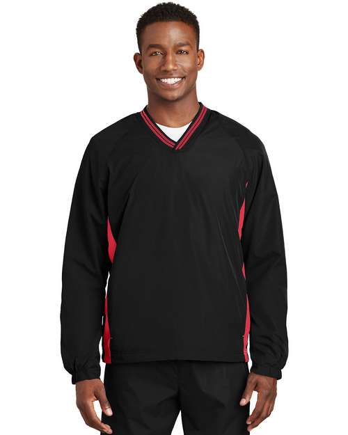 Sport-Tek JST62 Tipped V-Neck Raglan Wind Shirt by Port Authority