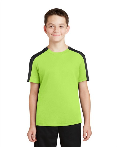 Sport-Tek YST354 Youth PosiCharge Competitor Sleeve-Blocked Tee